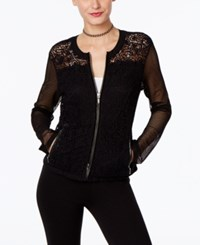 Inc International Concepts Mixed Media Lace Bomber Jacket Only At Macy's Deep Black