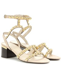 Burberry Philly Embellished Suede Sandals Beige