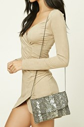 Forever 21 Bead And Sequined Clutch Silver