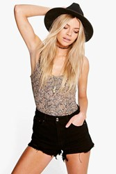 Boohoo Extreme Frayed Low Rise Denim Hotpant Black