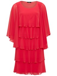 Gina Bacconi Beaded Edge Tiered Dress And Shawl Bright Cherry
