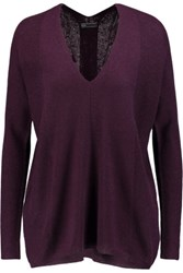 Vince Ribbed Knit Cashmere Sweater Burgundy