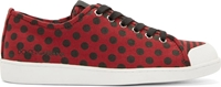 Dolce And Gabbana Red And Black Canvas Polka Dot Sneakers