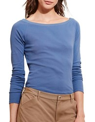 Lauren Ralph Lauren Petite Solid Cotton Blend Long Sleeve Tee Blue