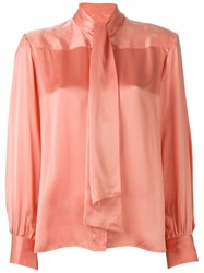 Celine Vintage Pussy Bow Blouse Pink And Purple