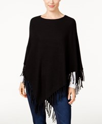 Jm Collection Ribbed Fringe Poncho Only At Macy's Deep Black