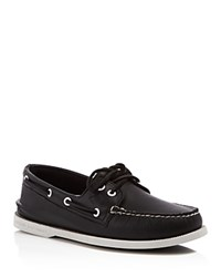 Sperry A O 2 Eye Leather Boat Shoes Black White