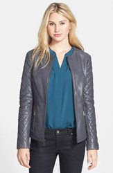 Petite Women's T Tahari 'Helene' Collarless Leather Scuba Jacket