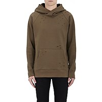 Barneys New York Men's Distressed Fleece Hoodie Dark Green