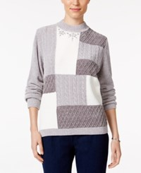 Alfred Dunner Embellished Colorblocked Sweater Silver