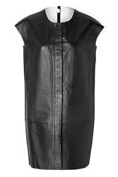 J Brand Leather Short Sleeve Jacket In Black White