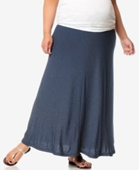 Motherhood Maternity Plus Size Striped Maxi Skirt Navy White Stripe