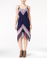 As U Wish Juniors' Printed Asymmetrical Dress Navy Coral