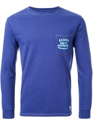 Bedwin And The Heartbreakers Logo Print Longsleeved T Shirt Blue