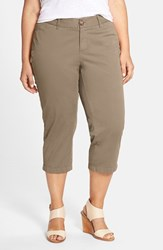 Plus Size Women's Sejour 'Addison' Stretch Crop Pants Olive Tarmac