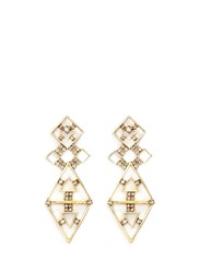 Erickson Beamon 'Geometry One' Swarovski Crystal Cutout Drop Earrings Metallic