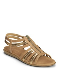 Aerosoles Clothesline Faux Leather Gladiator Sandals Tan Gold