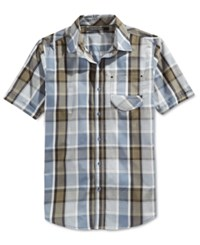 Sean John Men's Short Sleeve Plaid Shirt Aviator Blue