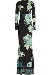 Roberto Cavalli Printed Floor Length Dress Turquoise
