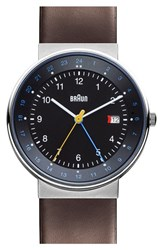 Men's Braun 'Classic Dual Time' Leather Strap Watch 40Mm