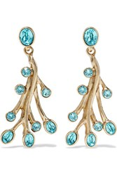 Oscar De La Renta Seaweed Gold Plated Crystal Earrings Light Blue