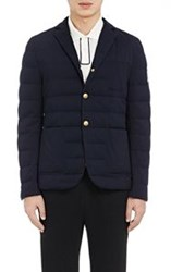 Moncler Gamme Bleu Down Quilted Snap Front Sportcoat Blue