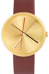 Projects Watches Gold Crossover Brass Watch Brown Leather Strap