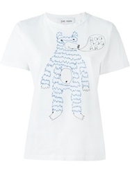 Jimi Roos Embroidered Bear T Shirt White