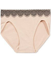 Bali One Smooth U All Over Smoothing High Cut Brief 2362 Nude W Black Lace
