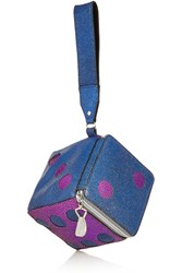 House Of Holland Roll The Dice Metallic Leather Clutch Blue