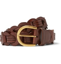 Tom Ford 3Cm Brown Woven Polished Leather Belt