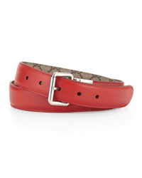 Gucci Reversible Leather Canvas Belt Red Beige