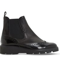 Dune Pacey Leather Brogue Chelsea Boots Black Leather Mix