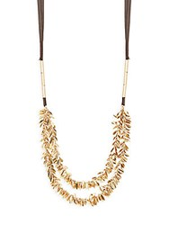 Punch Long Layered Necklace Brown
