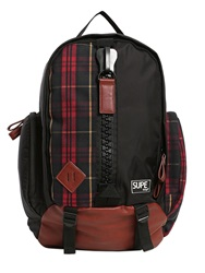 Supe Design Plaid Canvas Mountain Backpack Black Red