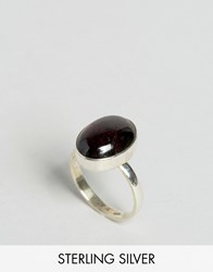 Regal Rose Sterling Silver Garnet Gemstone Ring Silver