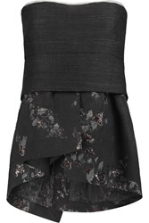 Donna Karan Asymmetric Wool Blend And Jacquard Bustier Gray