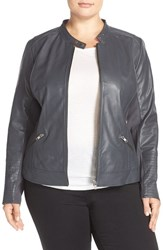 Sejour Plus Size Women's Channel Stitch Leather Moto Jacket Grey Phantom