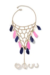 Topshop Feather Footchain And Toe Ring Blue
