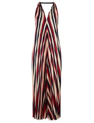 Tome Red Satin Stripe Pleated Halter Dress