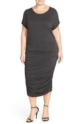 Plus Size Women's Vince Camuto Side Ruched Midi Dress Dark Heather Grey