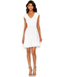 Bar Iii Cap Sleeve Fit And Flare Dress Bright White
