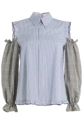 Sandy Liang Printed Cotton Blouse With Cut Out Shoulders Stripes