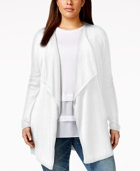 Michael Michael Kors Plus Size Open Front Waterfall Cardigan White