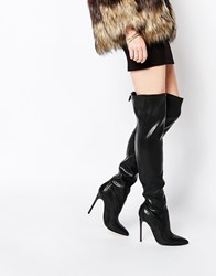 River Island Pointed Toe Over The Knee Heeled Boot Black