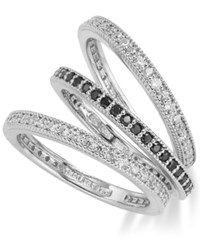B. Brilliant Sterling Silver Black And White Cubic Zirconia Triple Band Ring Set 1 Ct. T.W. Size 6