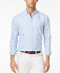 Tommy Hilfiger Men's Anchor Slim Fit Long Sleeve Shirt Collection Blue