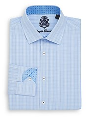 English Laundry Regular Fit Plaid Dress Shirt Light Blue