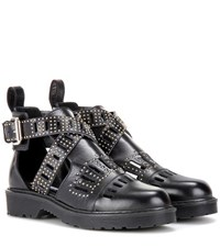 Mcq By Alexander Mcqueen Dalston Cut Out Leather Ankle Boots Black