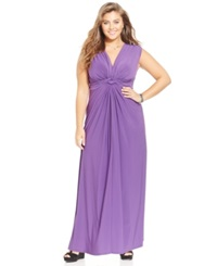 Love Squared Plus Size Sleeveless Knotted Maxi Dress Purple